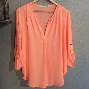 EUC XL Lush Neon Orange / Peach V Neck Blouse